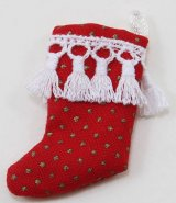 Stocking, Red w/ Gold Dots