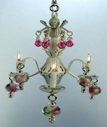 Bella Chandelier, White & Pink