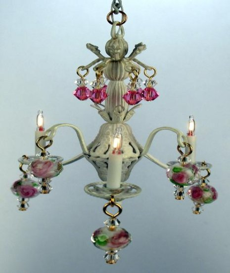Bella Chandelier, White & Pink - Click Image to Close
