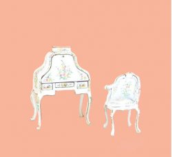 "1/2"" Bespaq Hepplewhite Handpainted Desk & Chair"