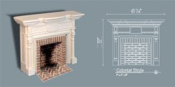 Colonial Fireplace w/Hearth & Embers, Parchment White