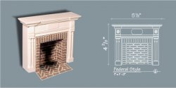 Federal Style Fireplace w/ Hearth & Embers, White