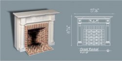 Greek Revival Style Fireplace w/ Hearth & Embers, White