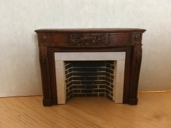 European Style Fireplace w/ Hearth & Embers, Walnut