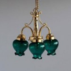 3 Arm Brass Ceiling Lamp, Tulip Bulb, Green