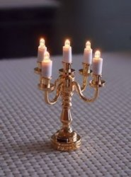 5-Arm Brass Candlelabra, Battery