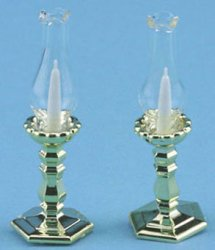 Polished Gold Candlesticks, 2pc