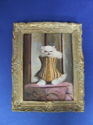 """Cat in a Corset"" Framed Painting"