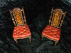 English Tufted Seat Chair, Antique Red