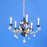 Chandelier Black & Brass w/ Crystal Drops