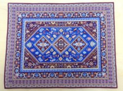 Blue & Burgundy Petit Point Rug