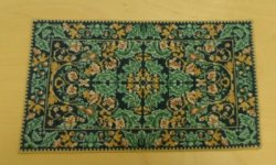 Green, Navy & Gold Petit Point Rug