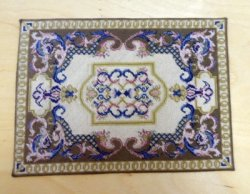 Cream, Sage, & Gold Handmade Petit Point Rug