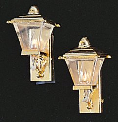 Gold Coach Lamps, Pair
