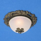 Bronze Ceiling Fixture w/Floral Base & Frosted Shade