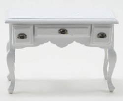 Desk, White w/ Pewter