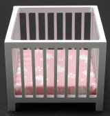 Slatted Play Pen, White w/ Pink Fabric