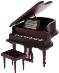 Baby Grand Piano w/Stool, Mahogany
