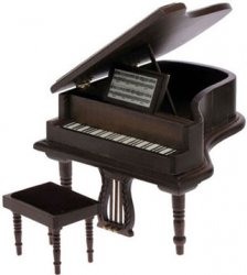 Baby Grand Piano w/Stool, Walnut