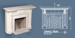 Classic Style Fireplace w/ Hearth & Embers, White