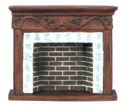 Brown Resin Fireplace w/Delft Tile