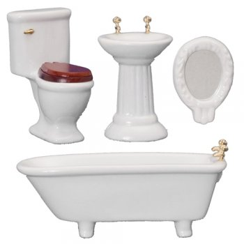 Art Deco Bathroom Set, 4pc