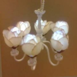 6-Arm Rose Fabric Shade Chandelier