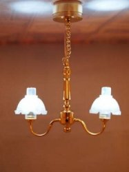 2 Arm Brass Hanging Chandelier Battery/LED