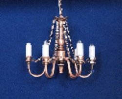6-Arm Copper Chandelier Battery/LED