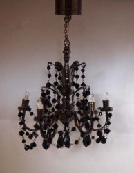 6 Arm Black Crystal Chandelier Battery/LED
