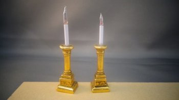 Candlestick Pair with Square Brass Bottom