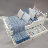 White Trundle Single Bed, Blue Floral Design