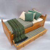 Walnut Trundle Single Bed, Green/Tan Plaid Design
