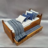 Walnut Trundle Single Bed, Navy & White Stripe Design