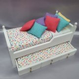 White Trundle Single Bed, Confetti Design