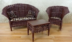 Handmade Brown Wicker Sofa, Rocking Chair, & Table