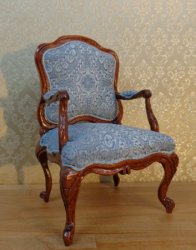 Handcarved and Upholstered French Arm Chair