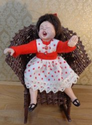 Little Girl Doll Screaming, Handsculpted, Signed BP