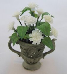 Decorative Planter w/ White Mums