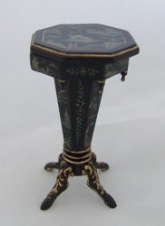 Octagon Sewing Table, Handpainted Black