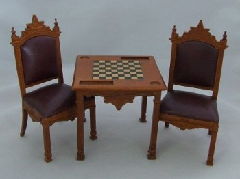 Bankers Chess Table & Chairs, New Walnut