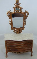 Grand Savoy Chest w/ Mirror, New Walnut/Gold