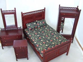 McComber Faux Bamboo Bedroom Set, Mahogany