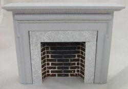 Traditional Style Fireplace w/ Hearth & Embers, Gray
