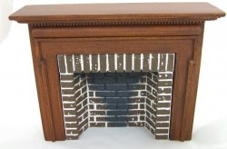 Traditional Style Fireplace w/ Hearth & Embers, Walnut