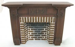 Classic Style Fireplace w/ Hearth & Embers, Warm Walnut