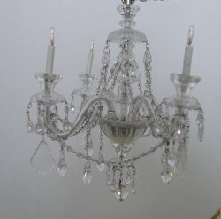 4 Arm Glass & Crystal Chandelier