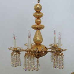 5 Arm Crystal Chandelier, Gold