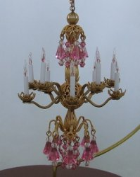 10 Light Pink Crystal Chandelier
