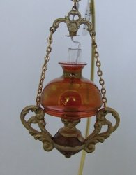Hanging Oil Lamp, Pink Glass